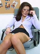 Brunette Office Babe In Tan Silk Stockings