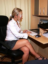 Two dicks isn't enough for this lovely little secretary