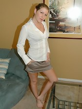 Grey skirt white top getting naked